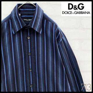 ドルチェアンドガッバーナ(DOLCE&GABBANA)の【美品】イタリア製 ドルチェ&ガッバーナ 長袖 ストライプ ドレスシャツ L(シャツ)