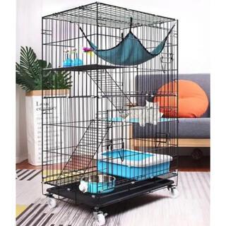 猫ケージ ペットフェンス キャットケージ ゲージ 折りたたみ式 柵 黒(猫)
