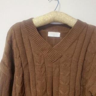 ブラウンニット 韓国ファッション(ニット/セーター)