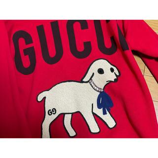 グッチ(Gucci)の期間限定●GUCCIグッチ子羊ラムビジュー付き赤スウェットXS(トレーナー/スウェット)