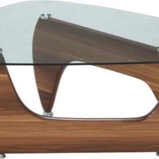 新品 本土送料無料 ガラスセンターテーブル ルーク ライトウォルナット(ローテーブル)