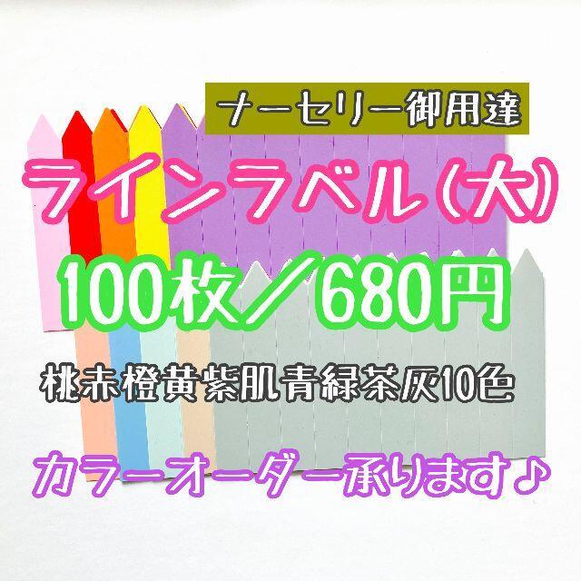 ◎ 100枚 ◎ 10色 ( 大 ) ラインラベル 園芸ラベル カラーラベル ハンドメイドのフラワー/ガーデン(プランター)の商品写真