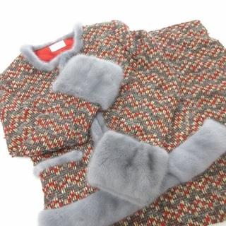 ハロッズ(Harrods)のHarrods ツイード×ミンク スカート ノーカラー ジャケット 赤 グレー(スーツ)