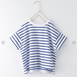 ローリーズファーム(LOWRYS FARM)の新品 ローリーズファーム  USAボーダーTシャツ 半袖 ブルー 110 120(Tシャツ/カットソー)