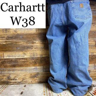 カーハート(carhartt)のカーハートw38ストレートジーンズGパンジーパンデニム太い古着アイスブルー薄い(デニム/ジーンズ)