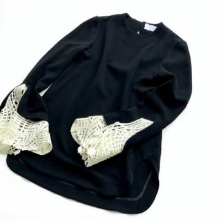 マメ(mame)のmame Embroidered Cuff Top サイズ2(カットソー(長袖/七分))