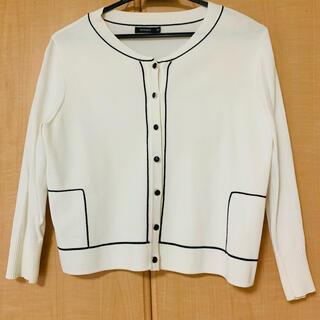 モマ(MOMA)の白 カーディガン トップス 羽織り 長袖 ベージュ 黒 カットソー  (カーディガン)