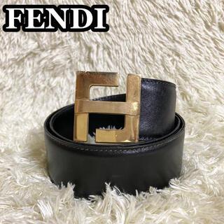 フェンディ(FENDI)の【極美品】FENDI ベルト FFロゴ ズッカ バックル ゴールド ブラック(ベルト)