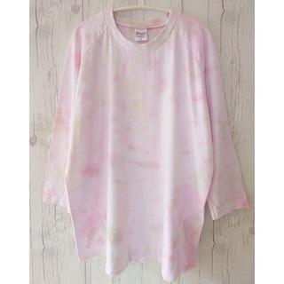 タイダイ染め ベースボールTシャツ 7分袖 サイズM(Tシャツ/カットソー(七分/長袖))