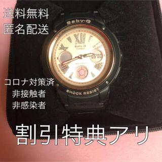 ベビージー(Baby-G)のBaby-G  黒ベルトピンクゴールド腕時計 クロノグラフ(腕時計)