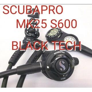 スキューバプロ(SCUBAPRO)の美品 スキューバプロレギュレーター S600 MK25ブラックテック ダイビング(マリン/スイミング)