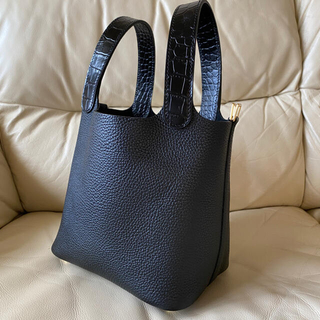 高品質ハンドメイド オーダーバッグ キューブバッグ トリヨン  ブラック PM(ハンドバッグ)