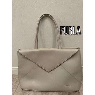 フルラ(Furla)の【美品】FURLA フルラ レザートートバッグ オフホワイト ハンドバッグ(トートバッグ)