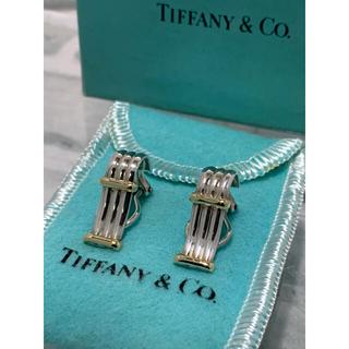 ティファニー(Tiffany & Co.)の美品 ヴィンテージティファニー TIFFANY コンビ ストライプ イヤリング(イヤリング)