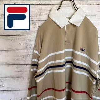 【人気】フィラ ボーダー ビックサイズ ラガーシャツ ポロシャツ 刺繍ロゴ
