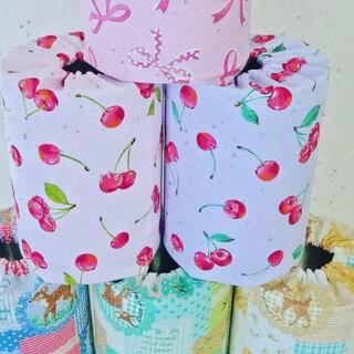 つばさ様専用 ピンクのさくらんぼ柄ミルク缶カバー(知育玩具)