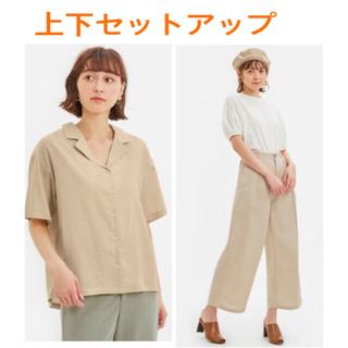 GU - GU セットアップ リネンブレンド オープンカラーシャツ ワイドパンツ