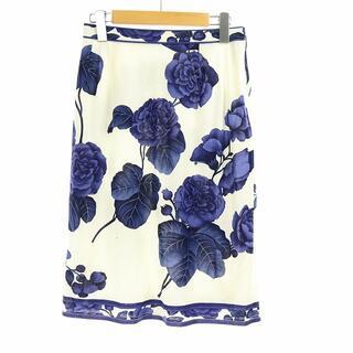 レオナール(LEONARD)のレオナール FASHION スカート ひざ丈 フレア 花柄 67cm 白 紺(ひざ丈スカート)