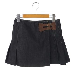 ポロラルフローレン(POLO RALPH LAUREN)のポロ ラルフローレン ミニスカート ラップ デニム プリーツ 0 紺 ネイビー(ミニスカート)