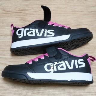 グラビス(gravis)のgravis ロゴ入り ピンク紐スニーカー 22cm 黒 新品(スニーカー)