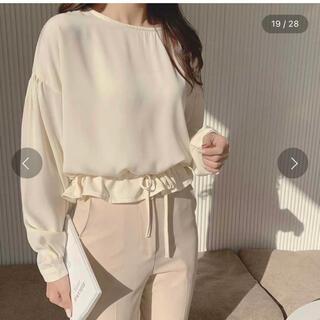 ゴゴシング(GOGOSING)の裾ストラップクロップドブラウス ホワイト(シャツ/ブラウス(長袖/七分))