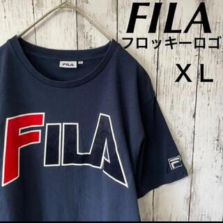 フィラ(FILA)のDesignshirt FILA フロッキー加工 Tシャツ 半袖 古着(Tシャツ/カットソー(半袖/袖なし))