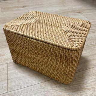 ムジルシリョウヒン(MUJI (無印良品))の無印良品 重なるラタン長方形ボックス・フタ付 (バスケット/かご)