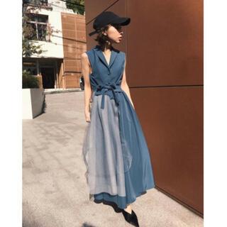 アメリヴィンテージ(Ameri VINTAGE)のAMERI vintage TULLE DOCKING DRESS(ロングドレス)