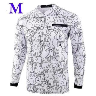 サイクルウェア・モトクロスウェア ネコ 猫 長袖 シャツ ジャージ  Mサイズ(モトクロス用品)