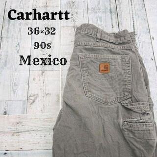 カーハート(carhartt)の90s カーハート ワークパンツ グレー(灰)36×32 メキシコ コットン(ワークパンツ/カーゴパンツ)