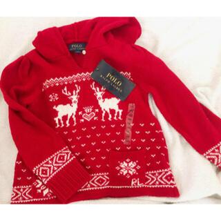 ポロラルフローレン(POLO RALPH LAUREN)のポロラルフローレン 赤 ニット 100 冬 新品 クリスマス 冬(ニット)