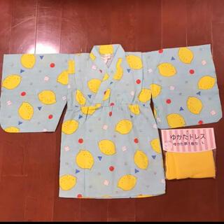 しまむら - ゆかたドレス 甚平 女の子 レモン柄 95cm 新品未使用