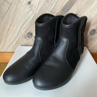 アシナガオジサン(あしながおじさん)のあしながおじさん 裏材ニット レザーショートブーツ 黒 23㎝ 日本製(ブーツ)