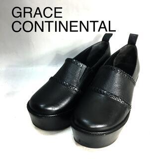 グレースコンチネンタル(GRACE CONTINENTAL)のZ579 グレースコンチネンタル 厚底ウッドスリッポンシューズ ブラック黒 (ローファー/革靴)