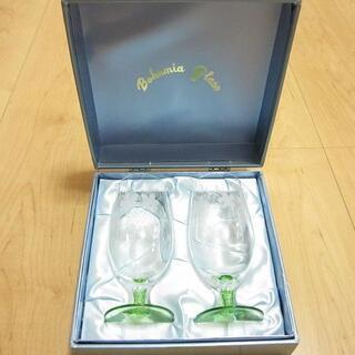 ボヘミア クリスタル(BOHEMIA Cristal)の新品 BOHEMIA GLASS ボヘミア ぶどう柄 ペア ワイングラス(グラス/カップ)