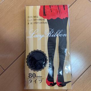 レーシーリボン 黒タイツ 80デニール M〜L(タイツ/ストッキング)