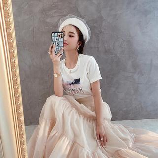 エイミーイストワール(eimy istoire)のeimy istoire♡チュールベレー帽♡ホワイト(ハンチング/ベレー帽)