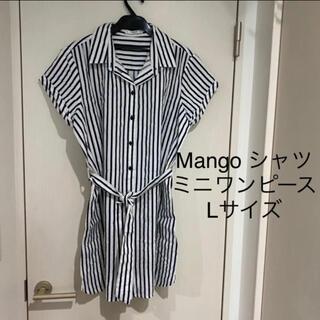 MANGO - Mango シャツ ミニワンピース Lサイズ