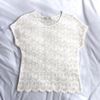 ビューティアンドユースユナイテッドアローズ(BEAUTY&YOUTH UNITED ARROWS)の美品 ユナイテッドアローズ レース Tシャツ ブラウス(シャツ/ブラウス(半袖/袖なし))