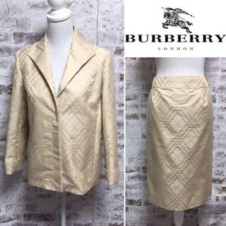 バーバリー(BURBERRY)の美品 BURBERRY セットアップ ベージュ シャドウチェック柄 大きいサイズ(スーツ)