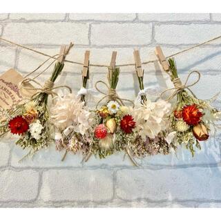 ドライフラワー スワッグ ガーランド❁376 薔薇ローズ 赤 紫陽花 白 花束(ドライフラワー)