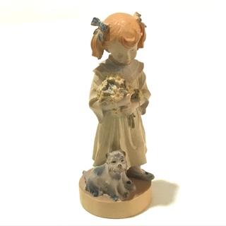 ドルフィ アンティーク 少女 犬 メンズ レディース 置物 ベージュ(彫刻/オブジェ)