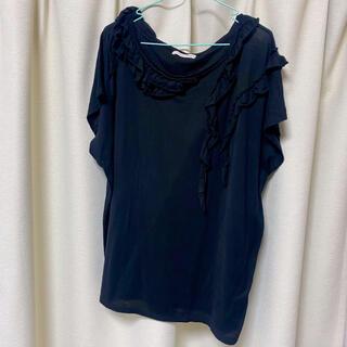 ツモリチサト(TSUMORI CHISATO)のツモリチサト 黒 フリル Tシャツ(Tシャツ(半袖/袖なし))