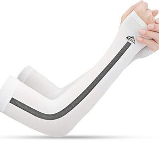 アームカバー 腕カバー 指掛けタイプ 接触冷感 UVカット 男女兼用 2枚セット(その他)