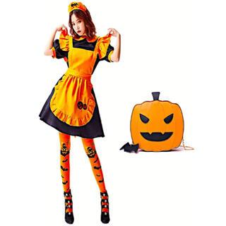 メイド服 ハロウィン 魔女 仮装 コスプレ コスチューム かぼちゃ ウェイトレス(衣装一式)