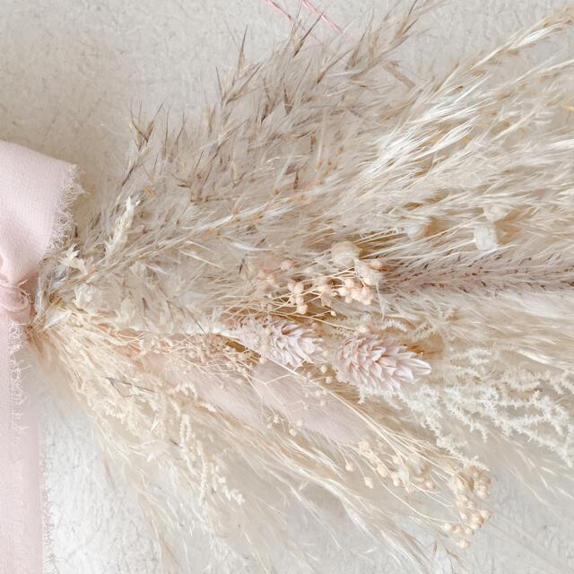 リボンスワッグ beigepink ハンドメイドのフラワー/ガーデン(ドライフラワー)の商品写真
