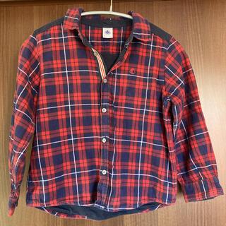 プチバトー(PETIT BATEAU)のプチバトー チェックシャツ 6ans 114cm ネルシャツ 長袖シャツ(ブラウス)