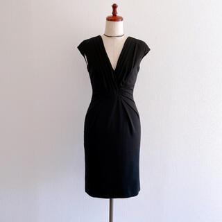 マテリア(MATERIA)のMATERIA マテリア ブラックワンピース ドレス 黒 38(ひざ丈ワンピース)
