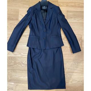 値下げ☆LANVINランバン スカートスーツ上下 紺ネイビー