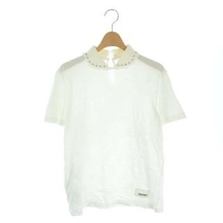 ミュウミュウ(miumiu)のミュウミュウ Tシャツ カットソー ビジュー 半袖 丸襟 M 白 ホワイト(Tシャツ(半袖/袖なし))